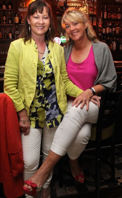 Sinead Rohan and Sheila Gleasure at 'The Restaurant' fundraiser in Kirby's Brogue Inn on Wednesday night. Photo by Dermot Crean