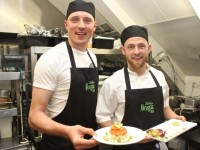 'Chefs' Kieran Donaghy and Barry John Keane in the kitchen at 'The Restaurant' fundraiser in Kirby's Brogue Inn on Wednesday night. Photo by Dermot Crean