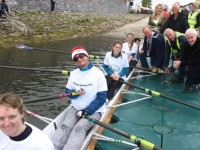 Sarah McLoughlin, Sue Hook, Sadhbh Walsh, Sahauna Flynn and cox Hugo Wells, the first crew out for the Rowathon for Tralee Rowing Club are seen off by Minister Jimmy Deenihan, Mayor of Tralee Jim Finucane, Cllrs Toireasa Ferris and Sam Locke and club members on Saturday afternoon. Photo by Dermot Crean