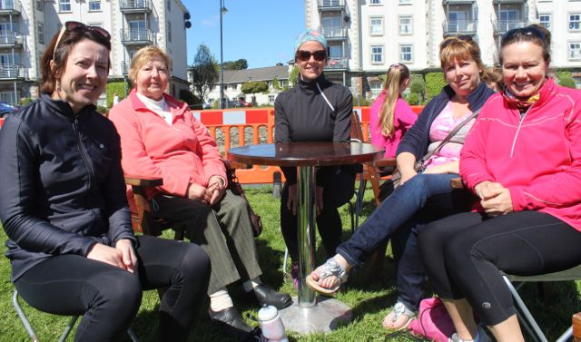 Trish Murphy, Joan Murphy, Paula Moloney, Helen McCarthy and Lorraine Hopkins at the Rowathon for Tralee Rowing Club on Sunday afternoon. Photo by Dermot Crean