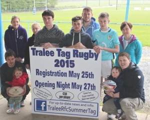 Launching the Tralee Summer Tag Rugby 2015 at Tralee Rugby Club on Tuesday night were, back from left; Kate Spillane, Ruth Murphy, Mikey Lyne, Dan O'Connor, Jack O'Sullivan, Jack Dolan and Riona Kennedy. In front are Garrett and Léan Walsh and Ger and Annalise Breen. Photo by Dermot Crean