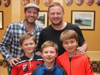 Meeting Lee Sharpe and David May were: Cathal, Colm and Killian Kenny. Photo by Gavin O'Connor.