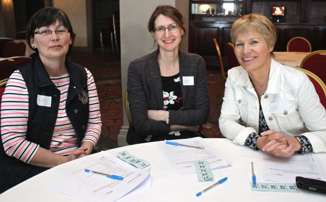 At the Tralee shoppers meeting in the Ashe Hotel were, from left. Ruth Horgan, Kathy McMyler and Anne Ber Egan. Photo O'Connor.