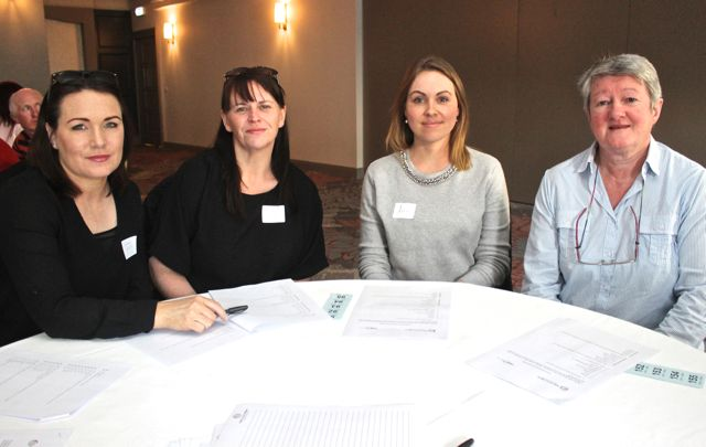 At the Tralee shoppers meeting in the Ashe Hotel were, from left. Cindy Walsh, Caroline Simpson, Lisa O'Donoghue and Anne O'Donnell. Photo O'Connor.