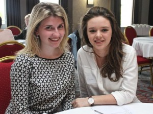 At the Tralee shoppers meeting in the Ashe Hotel were, from left: Kate O'Farrell and Caoimhe Healy. Photo O'Connor.