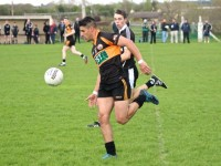 Last week against Ardfert in the club championship, Wayne Guthrie, solo's up the field which was his last game with Austin Stacks before he departed for America. Photo by Adrian Mclaughlin.