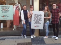 Vero Moda and Jack and Jones Tralee employees, Shauna O'Brien, Kirstie O'Dowd, Claire O'Brien and Blake Byrne promoting the charity day at the stores which took place yesterday. Photo courtesy Vero Moda Tralee Facebook page