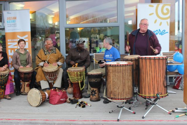 The 'Different Skins' drumming group entertaining those present at the 'Walk For Life' event at the Tralee Bay Wetlands on Saturday evening. Photo by Dermot Crean