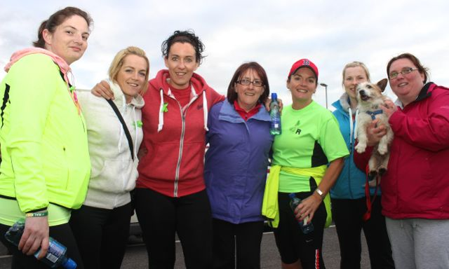 Mags Sweeney, Kim Enright, Sheila Sexton, Rochelle Moloney, Liz O'Gorman, Aine McCarthy and Deborah Walsh with 'Bella' at the 'Walk For Life' event at the Tralee Bay Wetlands on Saturday evening. Photo by Dermot Crean