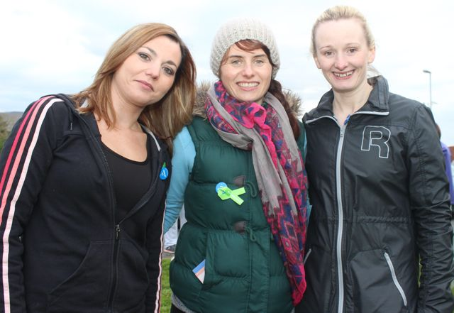 Claire Yildiz, Mags Carmody and Dawn Quirke at the 'Walk For Life' event at the Tralee Bay Wetlands on Saturday evening. Photo by Dermot Crean