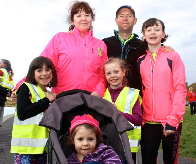 Sharon and Alan Mulgrew with Lucy, Sophie, Rachel and Kate at the 'Walk For Life' event at the Tralee Bay Wetlands on Saturday evening. Photo by Dermot Crean