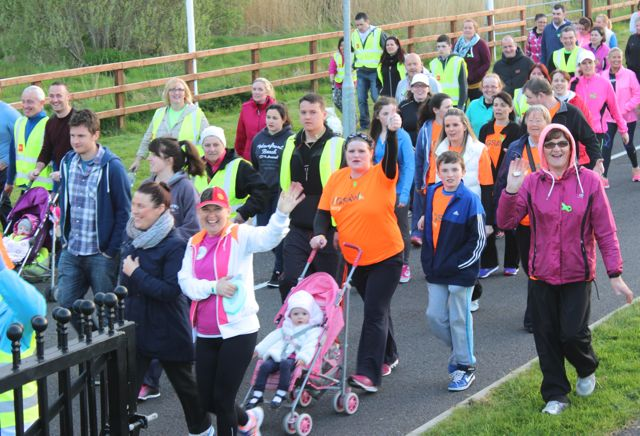 Participants in the 'Walk For Life' event at the Tralee Bay Wetlands on Saturday evening. Photo by Dermot Crean