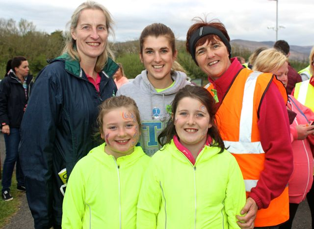 At back; Susan Keane, Martina and Breda Quirke. In front; Katie Smith Galvin and Sarah Keane at the 'Walk For Life' event at the Tralee Bay Wetlands on Saturday evening. Photo by Dermot Crean