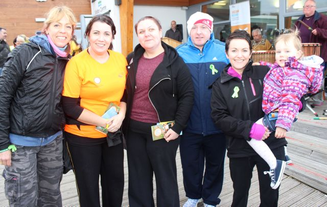 Rebecca Kemp, Ciara O'Connor, Sinead Fitzgerald, Stephen Hennessy, Sandra and Keelin Walsh at the 'Walk For Life' event at the Tralee Bay Wetlands on Saturday evening. Photo by Dermot Crean