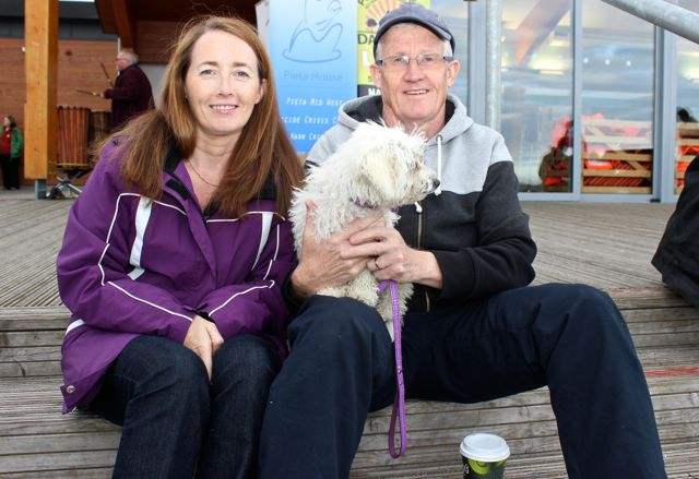 Mike and Cathy Jordan with 'Bella' at the 'Walk For Life' event at the Tralee Bay Wetlands on Saturday evening. Photo by Dermot Crean