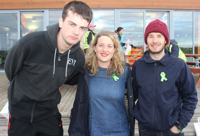 David O'Connor, Maria Moynihan and Danny Riordan at the 'Walk For Life' event at the Tralee Bay Wetlands on Saturday evening. Photo by Dermot Crean