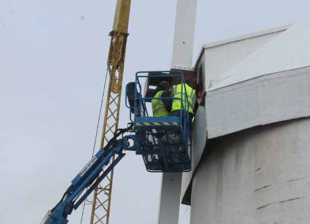 Workers involved fixing the sails back on  Blennerville windmill. Photo by Gavin O'Connor.