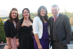 At the Austin Stacks Social in the Ballyroe Heights Hotel were, from left: Edele Conway, Tara O'Brien, Grainne Herbert and Ian O'Carroll. Photo by Gavin O'Connor.