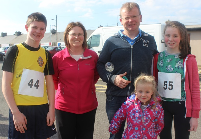 At the Kerins O'Rahillys Ladies 5K Family Fun Run were, from left: Oisin, Catherine, Ger, Siobhan and Niamh O'Mahony. Photo by Gavin O'Connor.