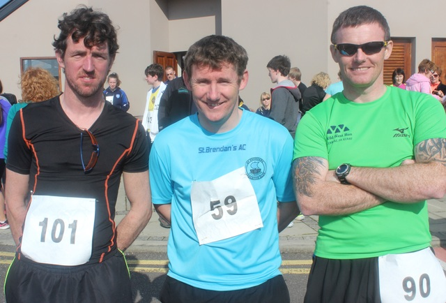 At the Kerins O'Rahillys Ladies 5K Family Fun Run were, from left: Jason Clifford, Brian Lucid and  Sean Flynn. Photo by Gavin O'Connor.
