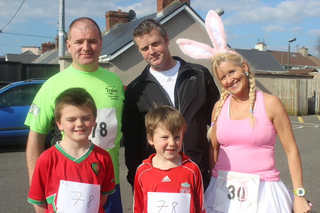 At the Kerins O'Rahillys Ladies 5K Family Fun Run were, from left, front: Adam Wharton and Lee Wharton. Back: Randell Wharton, Geoff Bradshaw and Marilyn O'Shea. Photo by Gavin O'Connor.