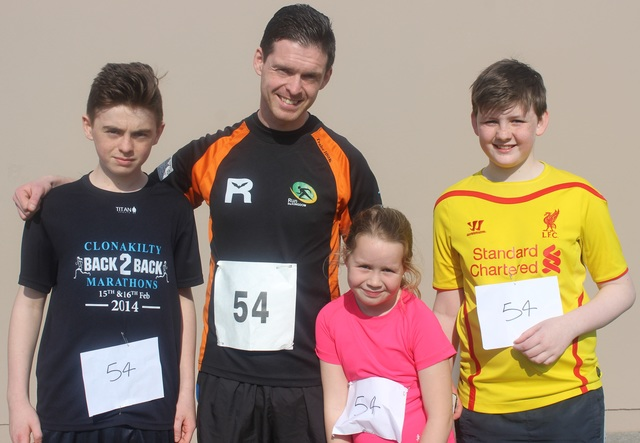 At the Kerins O'Rahillys Ladies 5K Family Fun Run were, from left: Aaron, Tom and Jazz Foley and DJ Griffin. Photo by Gavin O'Connor.