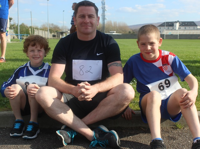 At the Kerins O'Rahillys Ladies 5K Family Fun Run were, from left: Rory O'Halloran, Eddie and Nick Lacey. Photo by Gavin O'Connor.