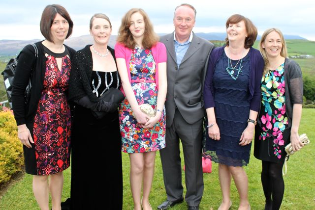 Margaret Boyle, Catherine Gately, Marelle Murphy, James Sheahan, Jennifer Murphy and Jo Jordan at the Kerry Badminton Annual Social at the Ballyroe Heights Hotel on Friday evening. Photo by Dermot Crean