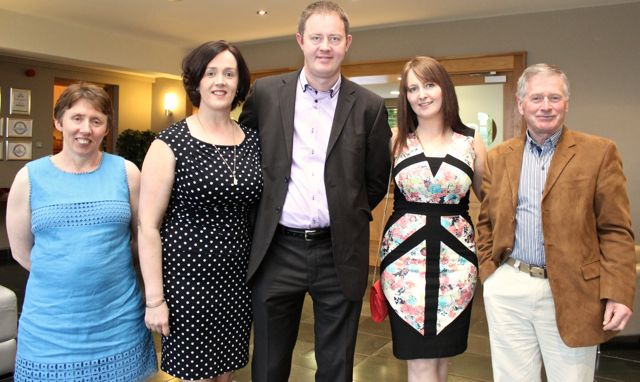 Mary Flahive, Aine and James Knightley, Rita Knightley and Sean Foley of the Annascaul Club at the Kerry Badminton Annual Social at the Ballyroe Heights Hotel on Friday evening. Photo by Dermot Crean