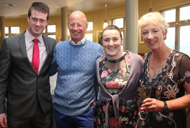 Paul Hayes, Listowel club, Stephen Weatherill, Susan O'Connell and Sue Weatherill, Valentia, at the Kerry Badminton Annual Social at the Ballyroe Heights Hotel on Friday evening. Photo by Dermot Crean