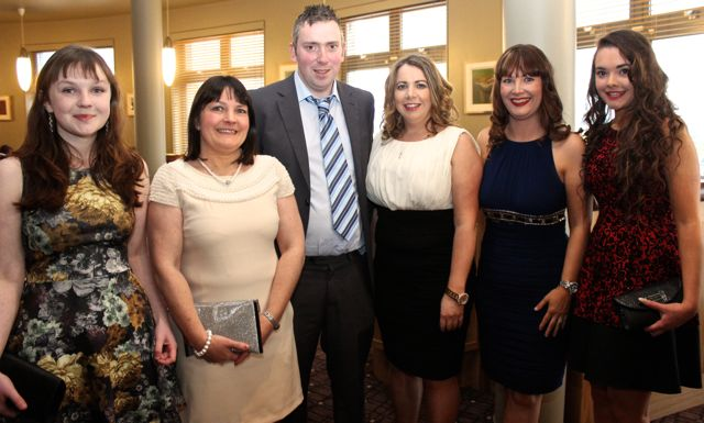 Michelle Beasley, Kingdom Club, Margaret Cahill, Kingdom Club, Mike Riordan, Iveragh/Portmagee, Mairead O'Connor, Marie Flynn, Kingdom and  Claire Cahill, Kingdom, at the Kerry Badminton Annual Social at the Ballyroe Heights Hotel on Friday evening. Photo by Dermot Crean