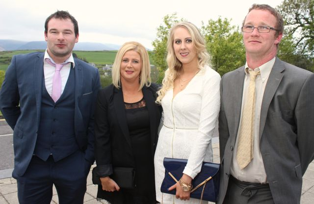 Donie Enright, Francine Collins, Loise Behan, Micheál Nolan, all Moyvane at the Kerry Badminton Annual Social at the Ballyroe Heights Hotel on Friday evening. Photo by Dermot Crean