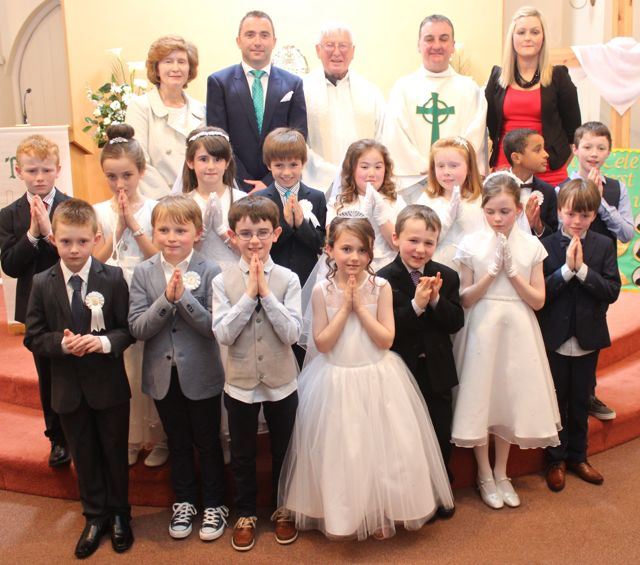 The children from Blennerville NS who made their First Holy Communion on Saturday in St Brendan's Church Curraheen. Photo by Dermot Crean