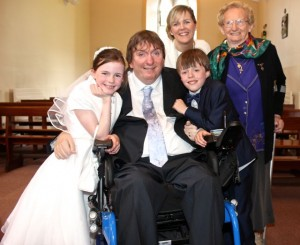 Millie and Mark O'Brien from Blennerville NS who made their First Holy Communion on Saturday in St Brendan's Church Curraheen, with parents Terry and Teresa and grandmother Mary. Photo by Dermot Crean