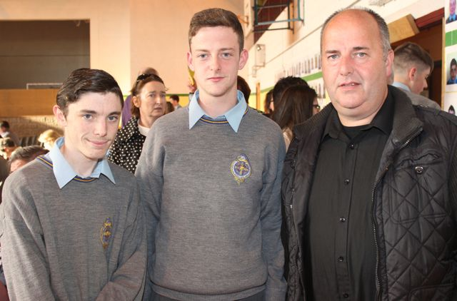 Sam Mansfield, Michael Creagh and Brendan Creagh at the CBS The Green Graduation night in the school gym on Thursday night. Photo by Dermot Crean