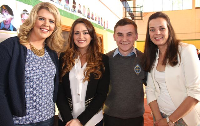 Rebecca Tobin, Laura Mahony, Adam Barrett and Catriona Kelliher at the CBS The Green Graduation night in the school gym on Thursday night. Photo by Dermot Crean