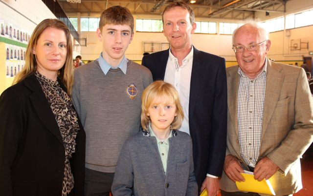 Sarah Tobin, Dwyer Tobin Monaghan, Louis Tobin Monaghan, Brian Monaghan and Paddy Tobin at the CBS The Green Graduation night in the school gym on Thursday night. Photo by Dermot Crean