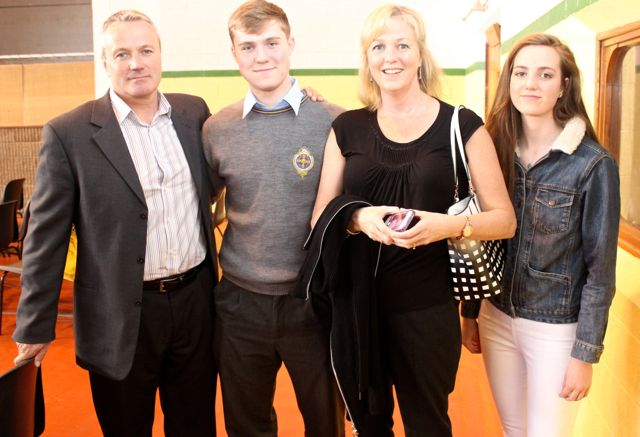 John, Cian, Eileen and Kate Kennedy at the CBS The Green Graduation night in the school gym on Thursday night. Photo by Dermot Crean