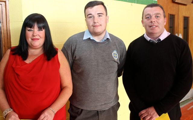 Vanessa and Jason Enright and Jason Donnelly at the CBS The Green Graduation night in the school gym on Thursday night. Photo by Dermot Crean