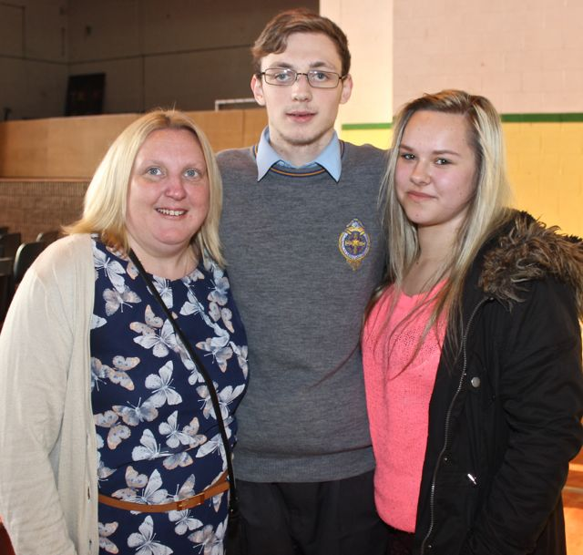 Michelle Reidy, Matthew Hanlon and Dominika Kacprzak at the CBS The Green Graduation night in the school gym on Thursday night. Photo by Dermot Crean