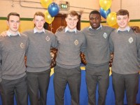 Dylan Harnett, Brandon Boyle, Cian Kennedy, Henry Adedeji and Darragh Ryan at the CBS The Green Graduation night in the school gym on Thursday night. Photo by Dermot Crean
