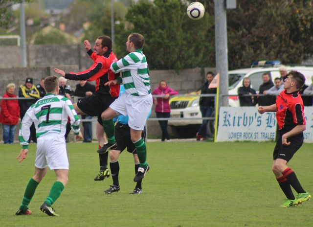 Action from the Munster Junior Cup final between, Tralee Dynamos and Carrick United. Photo by Dermot Crean.