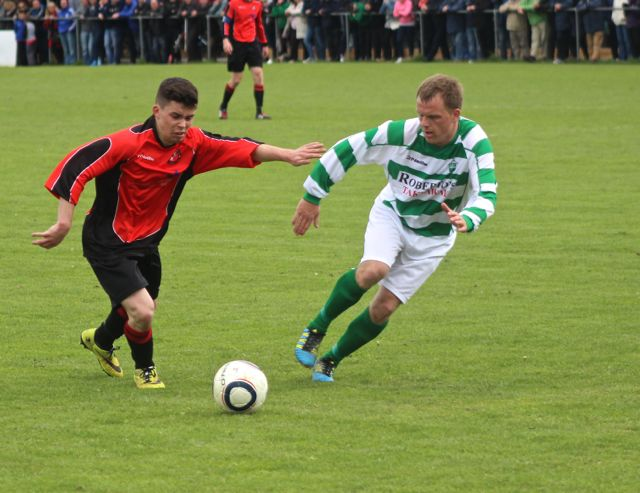 Tralee Dynamos, Danny Roche in possession against Carrick United. Photo by Dermot Crean.