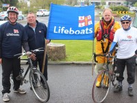 Launching the Fenit Lifeboat Station Charity Cycle, were members of Fenit Lifeboat, from left: Mike McDonnell, Mike O'Connor, Guy Waugh and Tom McCormick. Photo by Gavin O'Connor.