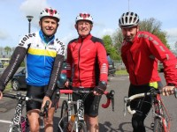 Tom Shanahan, Paudie Murphy and David Cotter at the start of the Fenit Lifeboat Cycle from O'Donnell's Mounthawk on Saturday morning. Photo by Dermot Crean