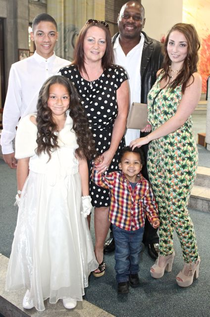 Mia Patterson of Holy Family NS who made her First Holy Communion on Saturday in Our Lady and St Brendan's Church, pictured with her family, parents Linda and Roscoe with siblings Brandon, Cameron and Shauna. Photo by Dermot Crean