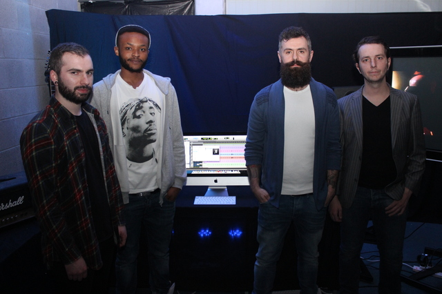 At the IT Tralee, Creative Media Final Year Project Exhibit were, from left: Cillian Garvey, Peter Njihia, Paulie O'Brien and Dave Lyons. Photo by Gavin O'Connor.