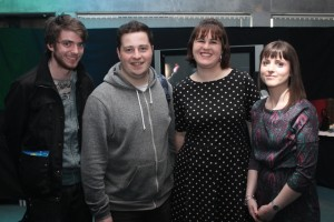At the IT Tralee, Creative Media Final Year Project Exhibit were, from left: Dylan Doocy, Gerard Denis O'Connor, Jennifer Kissane, Melissa Sheehy. Photo by Gavin O'Connor.