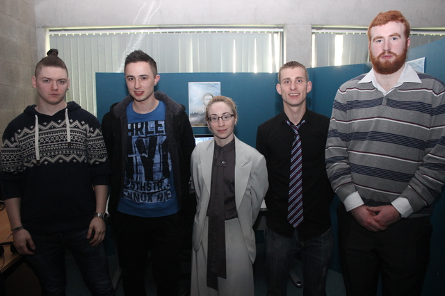 At the IT Tralee, Creative Media Final Year Project Exhibit were, from left: Martin Benson, Daniel Sheehan, Sinead McNally, Christopher Quain and Stephen Mulcahy. Photo by Gavin O'Connor.