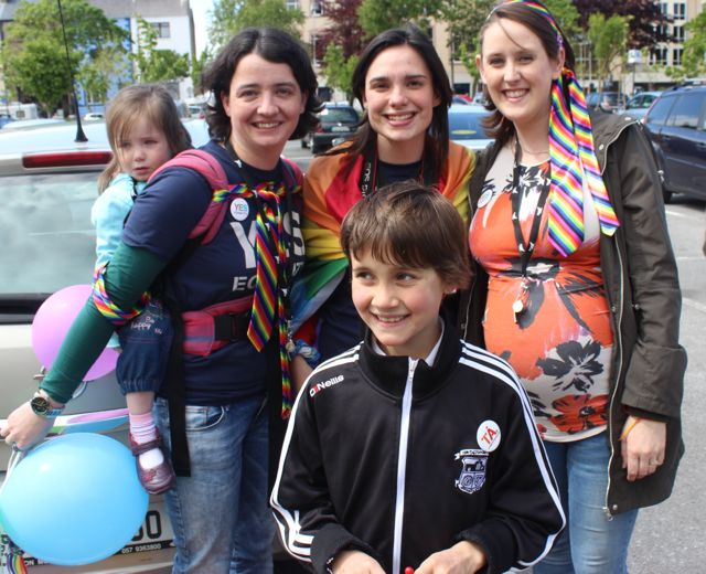 In front; Oisin Lawlor with Lily and Paula O'Sullivan, Adeline Fahey and Sinead O'Sullivan at the Kerry Festival of Pride parade on Saturday. Photo by Dermot Crean